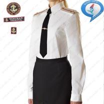 Рубашка ВМФ М-П России Женская с длинным рукавами сорочечная ткань Белая