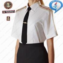 Рубашка ВМФ М-П России Женская с короткими рукавами сорочечная ткань Белая